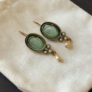 Extasia Vintage Intaglio Cameo Glass Earrings